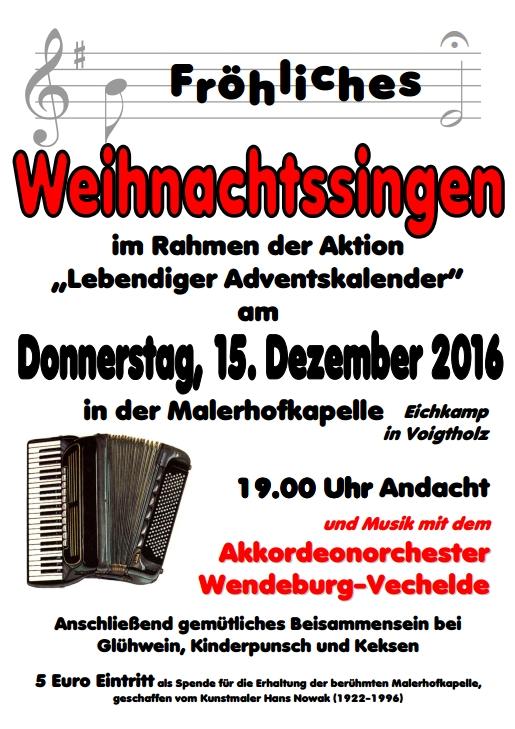 Plakat Weihnachtsliedersingen am 15.12.2016 um 19 Uhr in Voigtholz