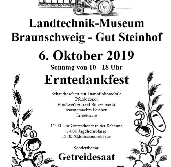 Einladung zum Erntedankfest am 6. Oktober 2019